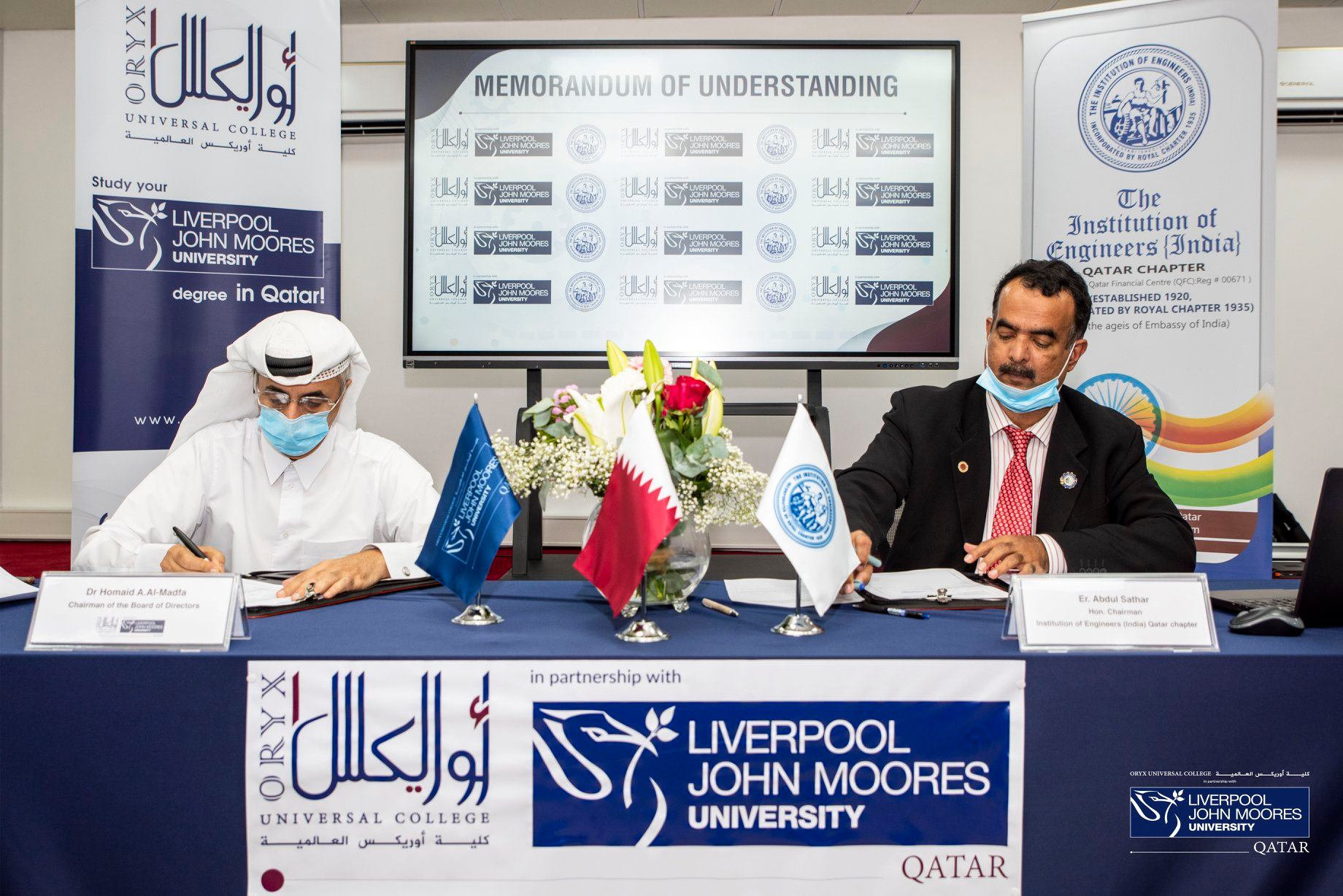 MOU signed between Oryx Universal College, in partnership with Liverpool John Moores University, and The Institution of Engineers - India (IEI) (Qatar Chapter)